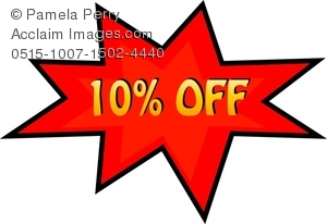 Clip Art Image Of A Price Cut Of 10  Off In A Starburst Shape