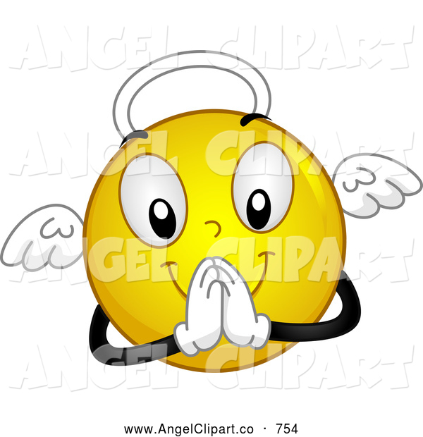 Clip Art Of A Yellow Angel Smiley Praying By Bnp Design Studio 754