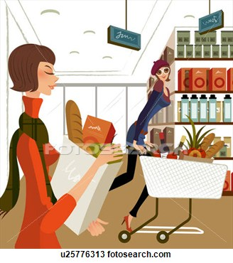 Of Two Women Shopping In A Supermarket  Fotosearch   Search Clipart