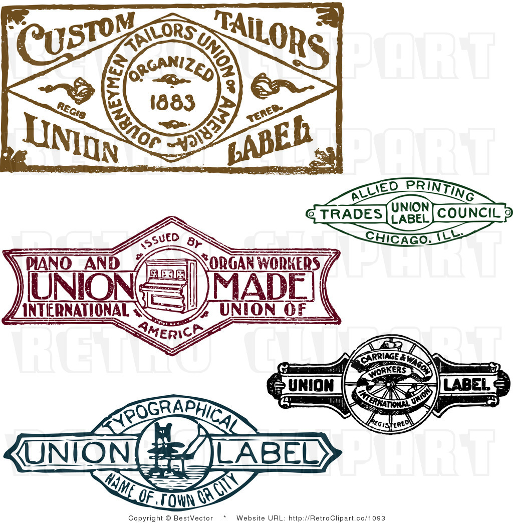 Royalty Retro Vector Clip Art Of A Collage Of Vintage Stamp Designs By