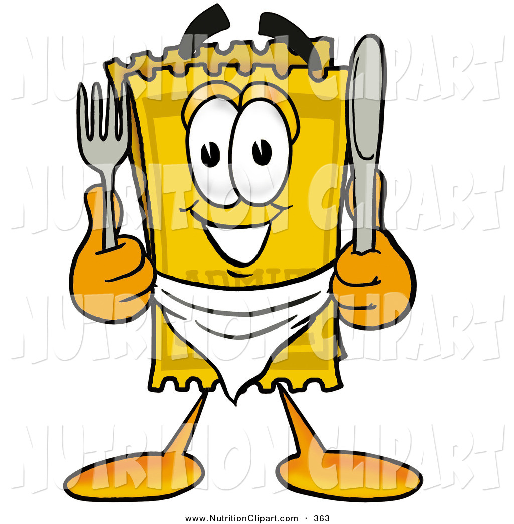 Ticket Mascot Cartoon Character Holding A Knife And Fork By Toons4biz