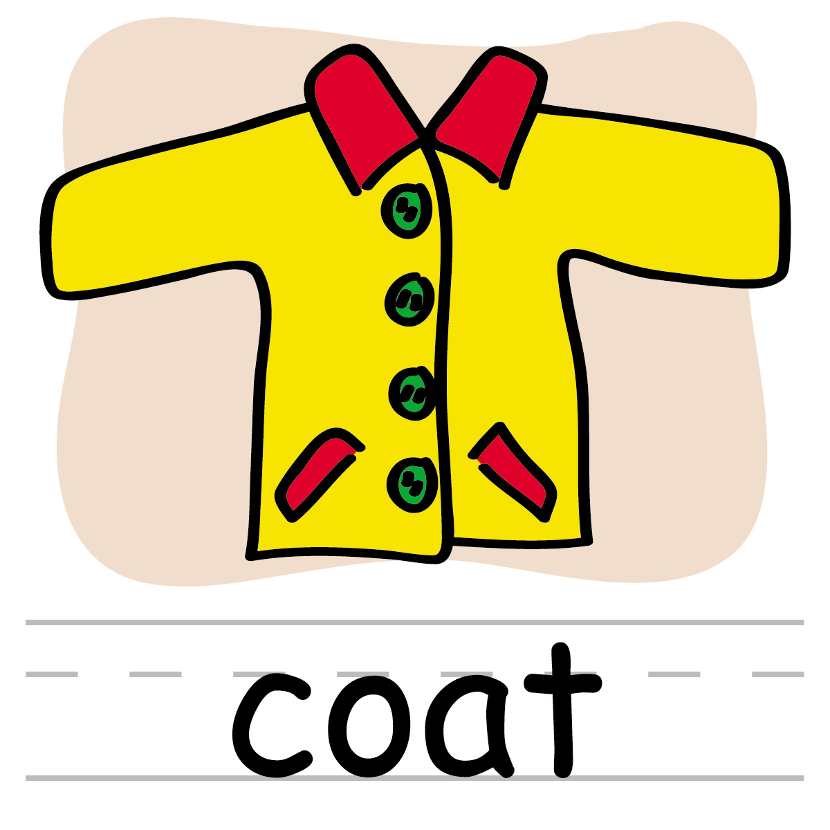 Clip Art  Basic Words  Coat Color Labeled