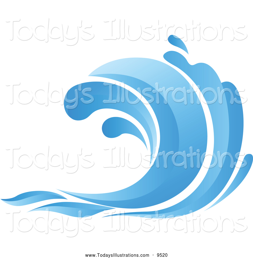 Clipart Of A Blue Ocean Wave By Seamartini Graphics    9520