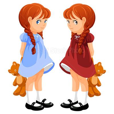 Twin Girls Clipart - Clipart Kid