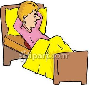 Man Lying In Bed   Royalty Free Clipart Picture