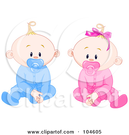 Royalty Free  Rf  Clipart Illustration Of Boy And Girl Baby Twins With