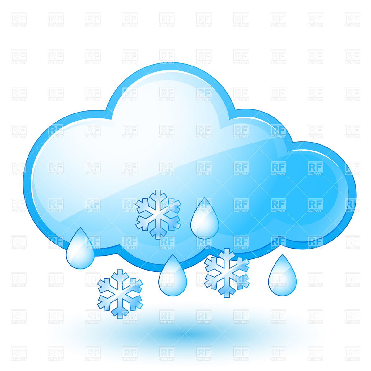 Snow With Rain   Weather Icon And Cloud Download Royalty Free Vector
