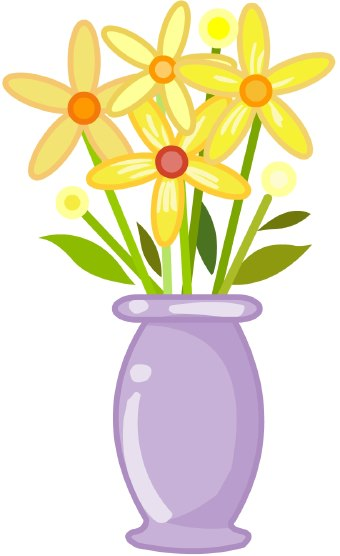 Vase Of Flowers Clip Art Clip Art Of A Purple Vase Holding Yellow