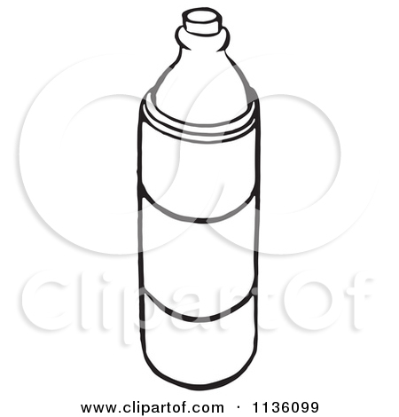 1136099 Clipart Of A Retro Vintage Black And White Water Bottle