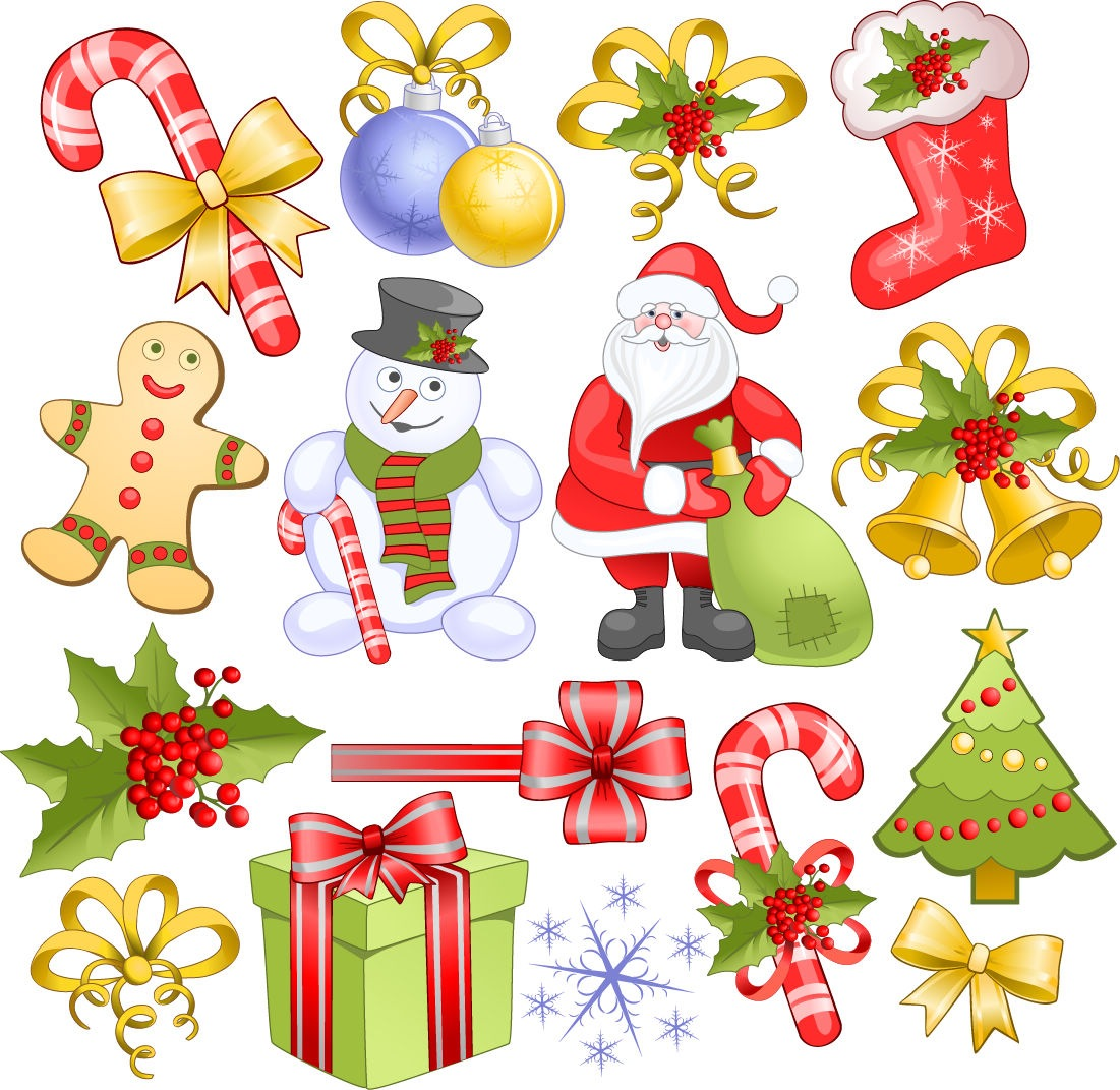 Christmas Elements Set Vector   Free Vector Graphics   All Free Web