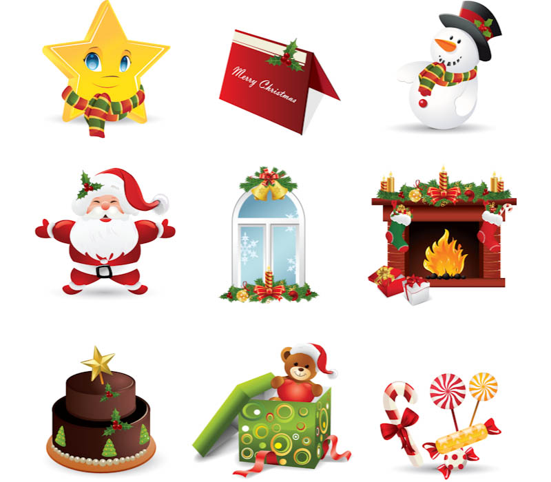 Christmas Vector Clipart Set Of 9 Vector Christmas Clipart