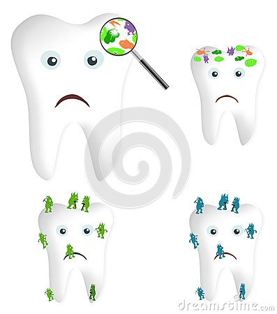 Clip Art Cartoon Illustration Of Tooth Germs And Bacteria Under A