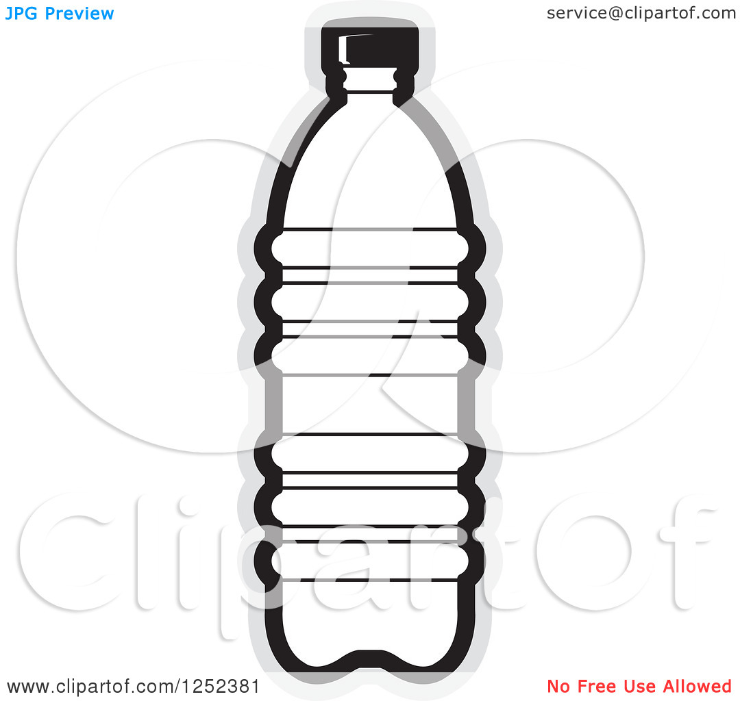 Clipart Of A Black And White Water Bottle And Gray Outline   Royalty