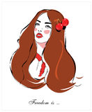 Fashion Girl  T Shirt Design  Portrait Of A Young Woman With Long Hair