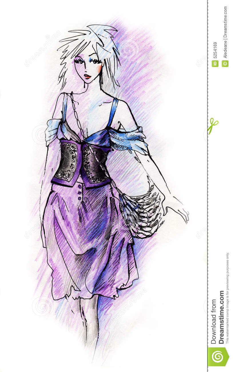 Fashion Illustration Created With Pencil And Ink  Cleaned Background