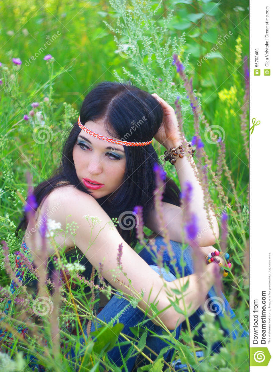 Girl Hippie Posing Outdoor  Boho Style Boho Chic