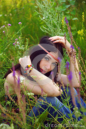 Girl Hippie Posing Outdoor  Boho Style Boho Chic  Stock Photo   Image