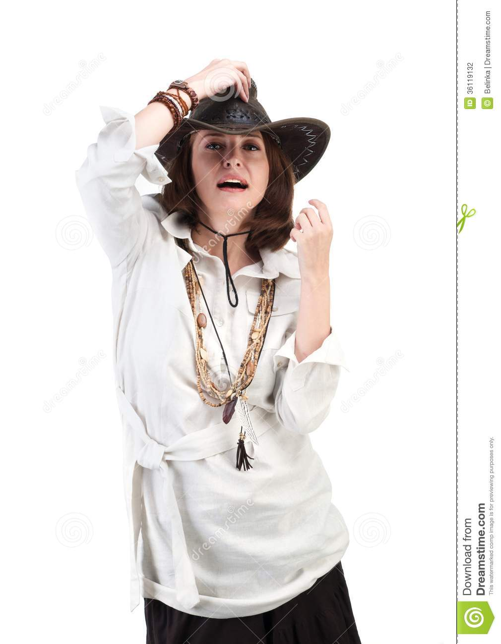 Girl Look In Boho Style Isolated On White Background Stock Photography