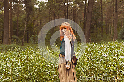 Girl With Hippie Dress Walking In The Forest  Redhead Girl In Boho