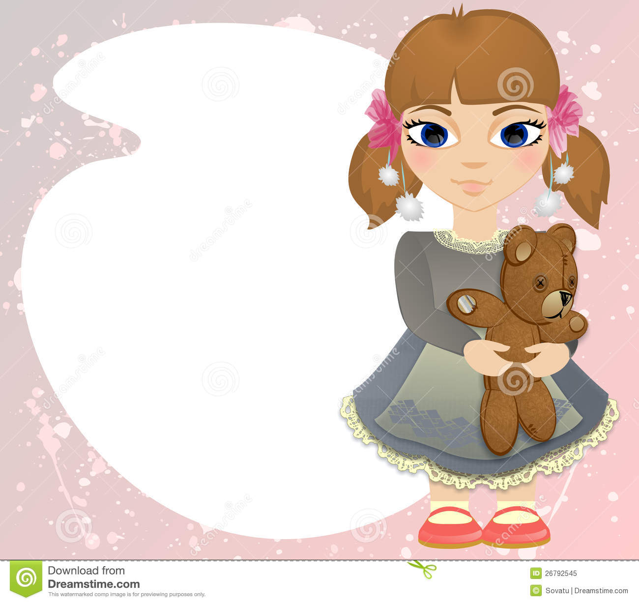 Illustration Of Little Girl With Bear On Pink Background With Place