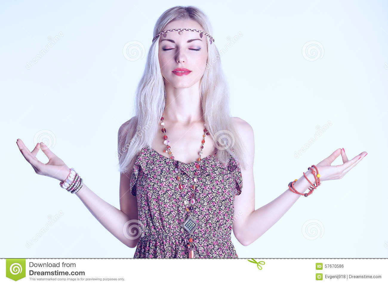 Portrait Of Boho Blonde Woman Meditates With Closed Eyes Copy Space