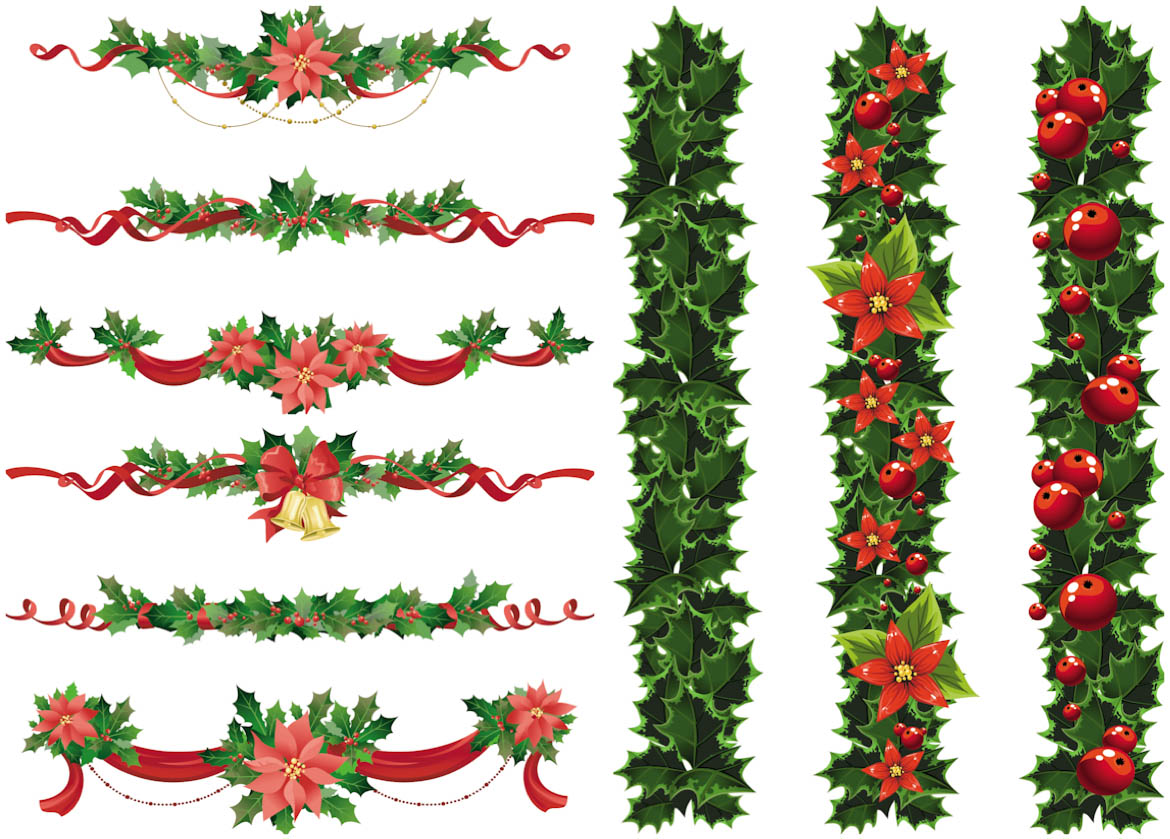 Set Of Vector Christmas Garland Templates With Red Ribbons And Bows