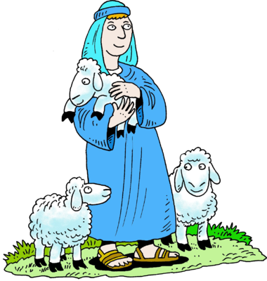 Standing Shepherd In Blue Robe   Shepherd Clip Art   Christart