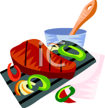 Steak With Bell Peppers Clipart Image   Foodclipart Com