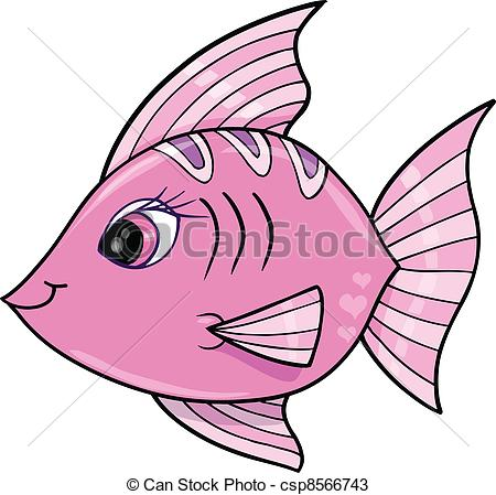 Vector   Pink Girl Fish Ocean Vector   Stock Illustration Royalty
