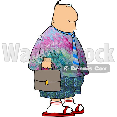 Wearing Colorful Hippie Clothing To His Work On Casual Friday Clipart