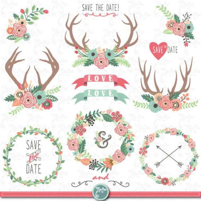 Wedding Clip Art Wedding Flower Wreath Clipartfloral Antlers