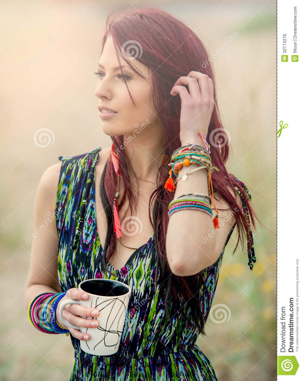 Young Hippie Girl In Boho Fashion Royalty Free Stock Image   Image
