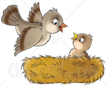 31256 Clipart Illustration Of A Cute Baby Bird In A Nest Looking Up At