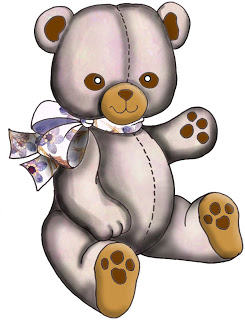 Bear Clip Art From Set A05   Purple Wood Roses Free Crafty Clipart
