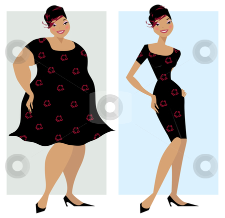 Before And After Diet Stock Vector Clipart Changes In Shape Of A Lady