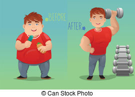Before And After  Weight Loss   A Vector Illustration Of