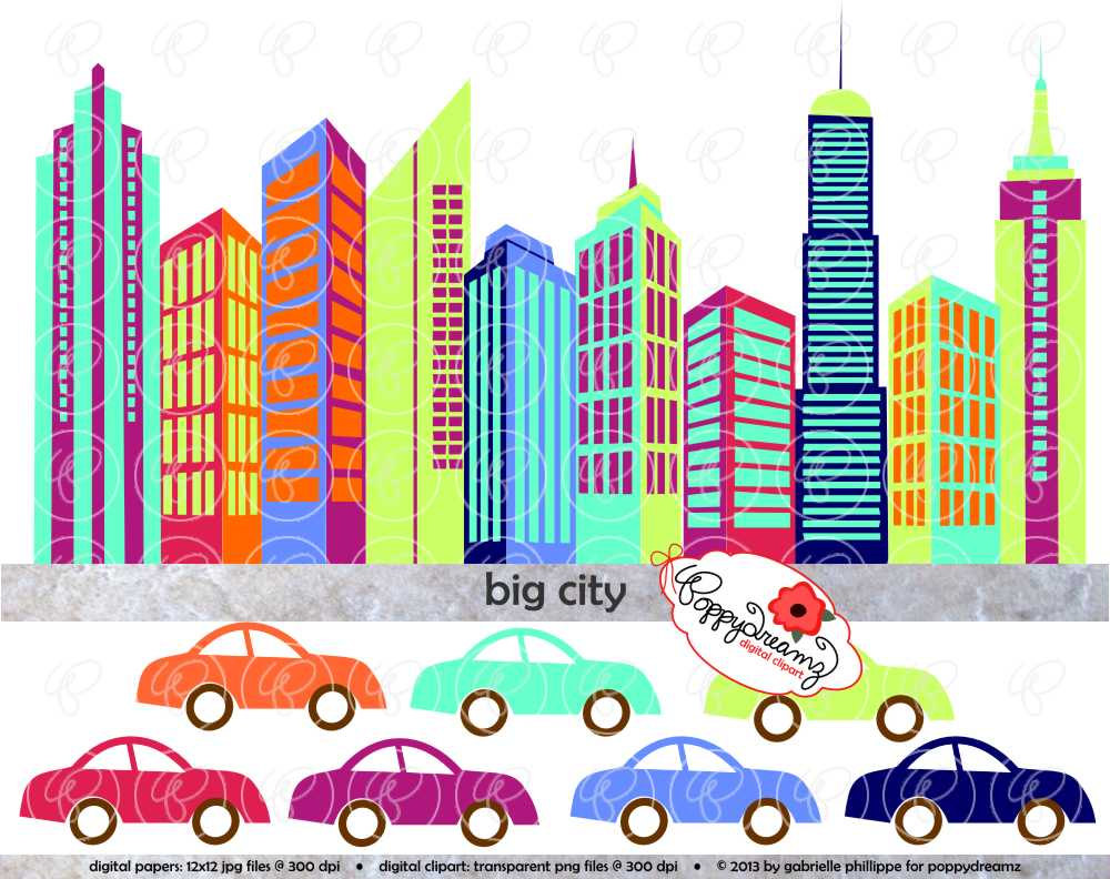 Big City Digital Skyscraper Clip Art  Skyscrapers By Poppydreamz