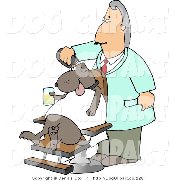 Clip Art Of An Old Male Dog Groomer Grooming A Dog With A Razor While