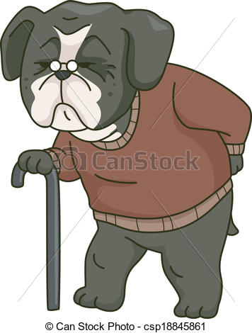 Clip Art Vector Of Old Dog   Illustration Featuring An Old Dog Walking