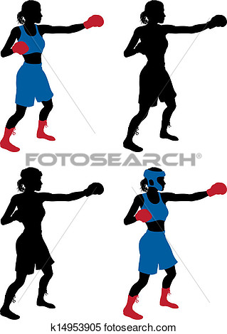 Clipart   Female Boxer Boxing  Fotosearch   Search Clip Art