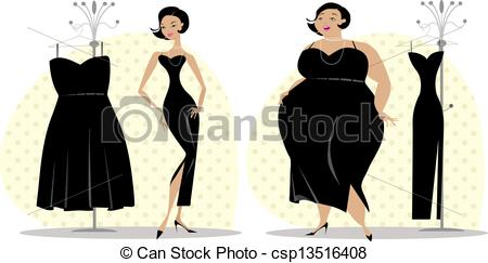 Clipart Of After And Before Diet   Lady Fitting Dress After And Before