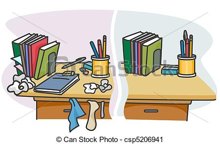 Clipart Of Before And After   Illustration Of A Table With A Dirty And