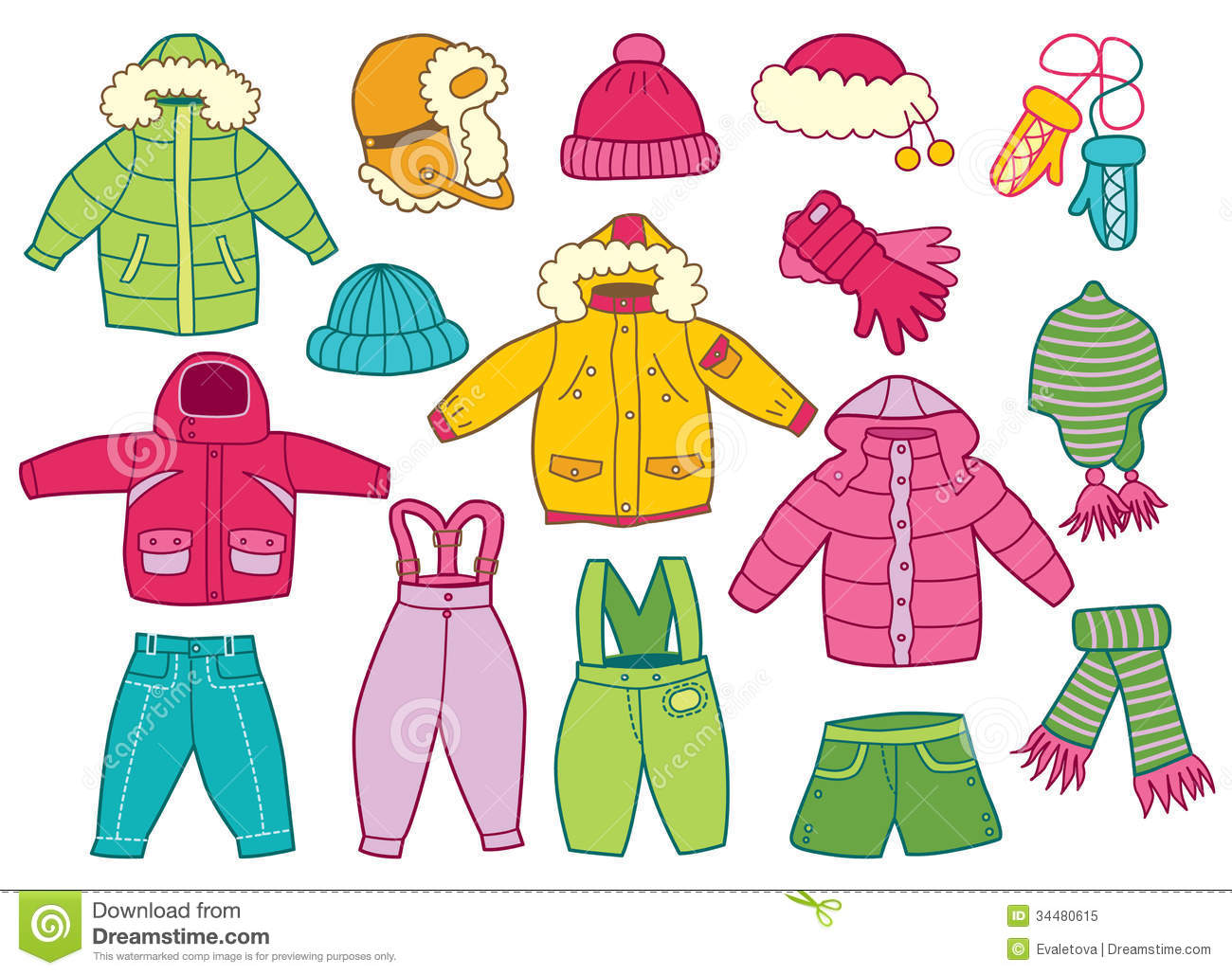 Collection Of Winter Children S Clothing Royalty Free Stock Photo
