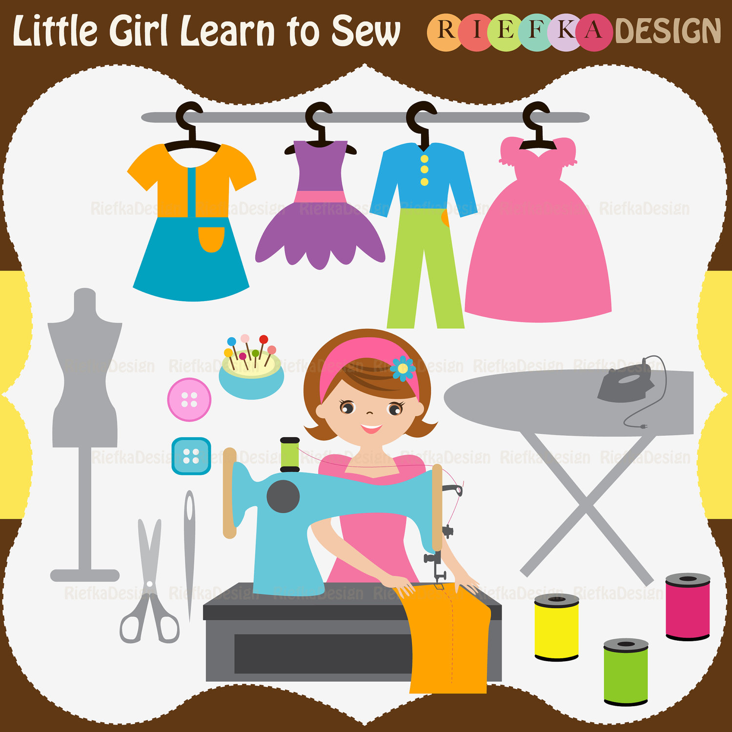 Cute Girl Sewing Clipart - Clipart Kid