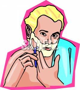 Man Shaving Clip Art Image