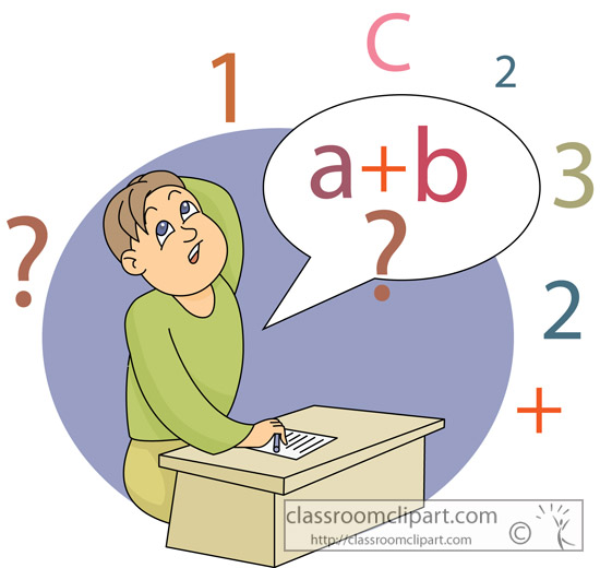 Mathematics   Student Thinking About Math   Classroom Clipart