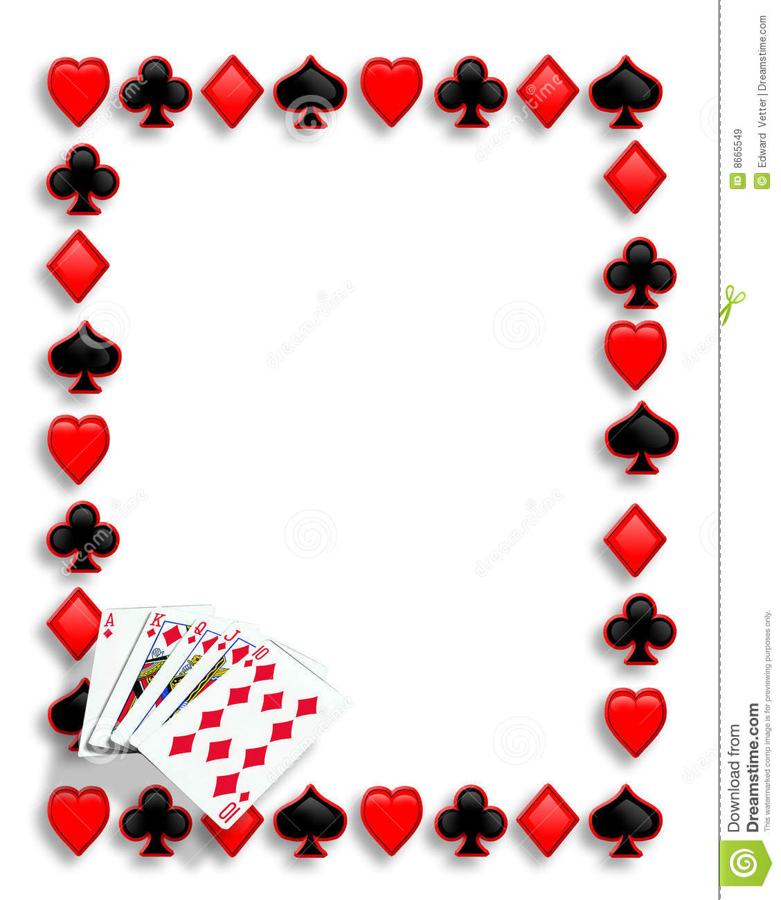 Playing Cards Suits Background Border Or Frame For Card Poker Night