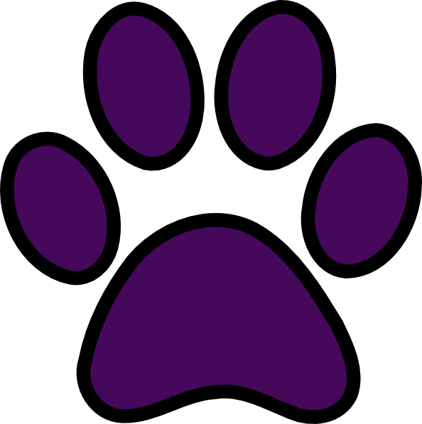 Purple Pawprint Black Outline Clip Art At Clker Com   Vector Clip Art