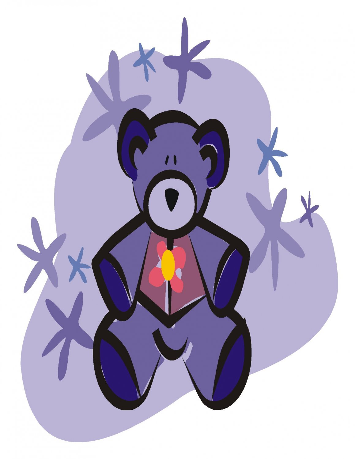 Purple Teddy Bear Digital Download Clipart Art Clip
