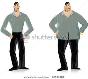 Smiling Man Before And After His Diet Clipart Image